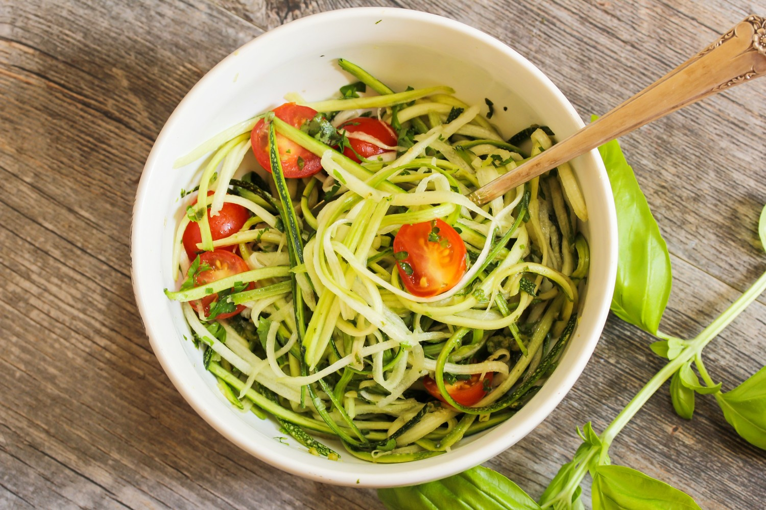 Image for Zoodles with olive oil and cherry tomatoes