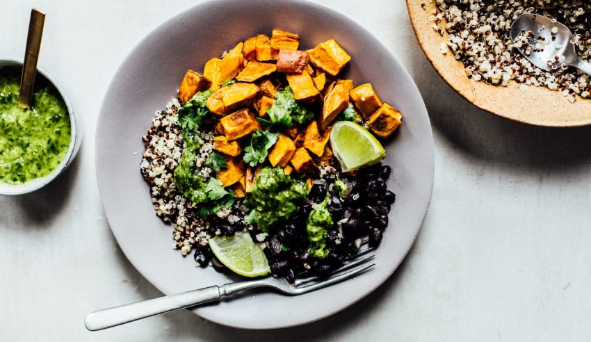Image for Budget Cooking: Quinoa, Black Bean & Sweet Potato Bowls with Green Sauce